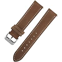 Ivystore 18/20/22mm Vintage Genuine Leather Sport Watch Strap or Smart Watch Band with Quick Release Spring Bar