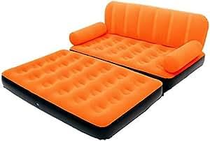 【 2WAY 仕様 】 マルチ エアー ソファ ベッド ダブル サイズ 2人 用 癒し おしゃれ デザイン MI-SOFABED (オレンジ)