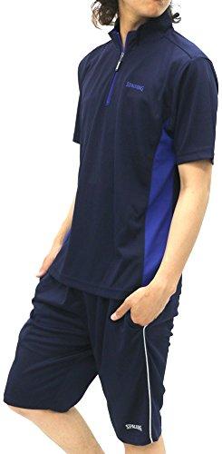 [スポルディング] トレーニングウェア 上下 セット ドライ Tシャツ ジャージ ショートパンツ メンズ ネイビー M