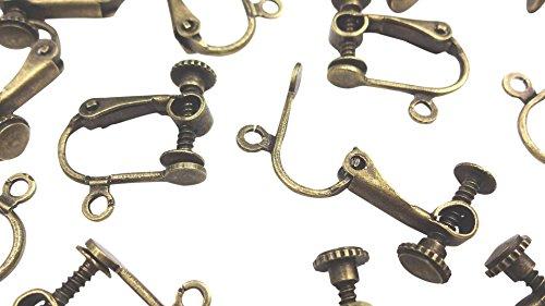 【HARU雑貨】イヤリングパーツ 20個(10ペア)セット 金古美/ネジバネ式 平皿/ハンドメイド 金具 (アンティーク)