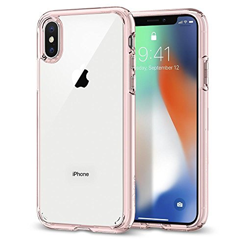 【Spigen】iPhone X ケース, [ 背面 クリア ] [ 米軍MIL規格取得 ] [ Qi 充電 対応 ] [ 落下 衝撃 吸収 ] ウルトラ・ハイブリッド アイフォン X 用 耐衝撃 カバー (iPhone X, ローズ・クリスタル)