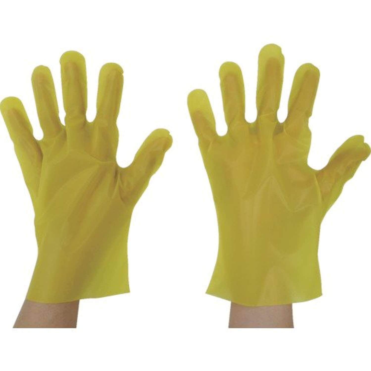 圧力反逆ビジュアル東京パック エンボス手袋五本絞りエコノミー化粧箱L イエロー(入数:200枚) YEK-L