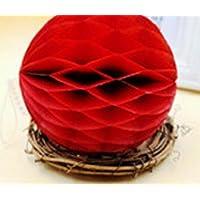 YChoice 可愛い赤ちゃんのおもちゃ ギフト ハニカムボール ティッシュペーパー ポンポン ペーパーボール デコレーション ベビーシャワー 誕生日装飾用 レッド