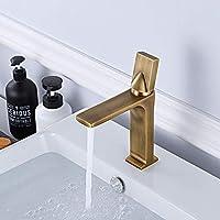 ETH 現代のクリエイティブ浴室洗面台のフル銅ブラッシュ蛇口温水と冷水の調整アメリカンゴールド単穴の蛇口 蛇口カバ