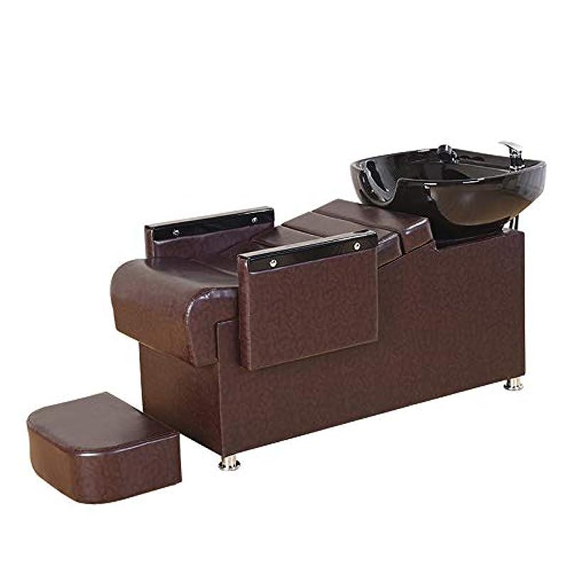 セクション博物館息を切らしてシャンプー椅子、逆洗ユニットシャンプーボウル理髪店フラッシングベッド美容院シンク椅子用スパ美容院機器