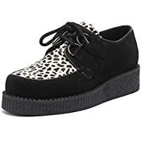 Underground Wulfrun Creeper Womens Black/Leopard Suede Shoes