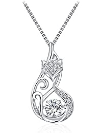 T400 Jewelers Lovely Fox Dancing Stone Necklace Set with Swarovski Zirconia Sterling Silver Jewellry for Women Mother's Day Gifts
