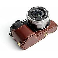 ソニーアルファ6300 6000 Sony α6000 α6300 A6300 A6000 ILCE-6300 ILCE-6000半カメラカバー 半カメラケース、Koowl手作りの本革カメラボディージャケット、保護袋、台座の透かし彫り+ハンドストラップ(カメラストラップ)、防水、防振、ポータブル (コーヒー色)