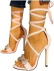 Deodehi 女性ファッションクリスタルアンクルストラップ薄いヒールサンダルカジュアルシューズ レディース ハイヒール 8cmヒール ピンヒール パンプス サンダ 美脚 快適な 歩きやすい 痛くない カジュアル 低反発