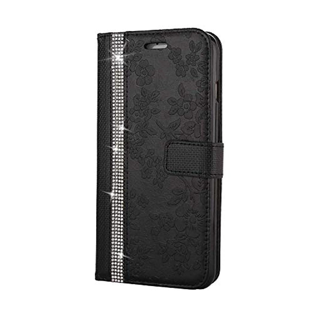複合バラ色省略CUNUS iPhone 6 Plus/iPhone 6S Plus 用 ウォレット ケース, プレミアム PUレザー 全面保護 ケース 耐衝撃 スタンド機能 耐汚れ カード収納 カバー, ブラック
