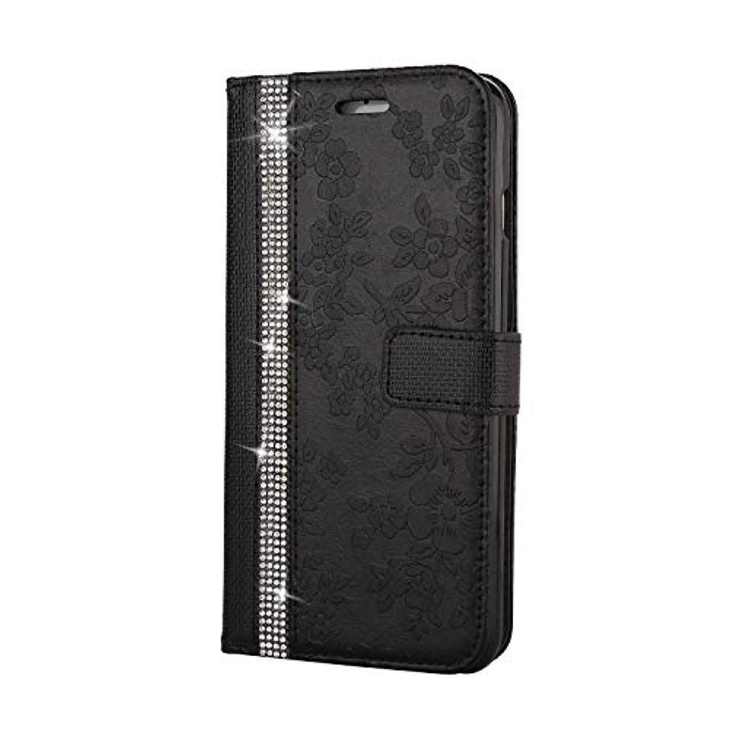スロットきらきらなんでもCUNUS iPhone 6 Plus/iPhone 6S Plus 用 ウォレット ケース, プレミアム PUレザー 全面保護 ケース 耐衝撃 スタンド機能 耐汚れ カード収納 カバー, ブラック