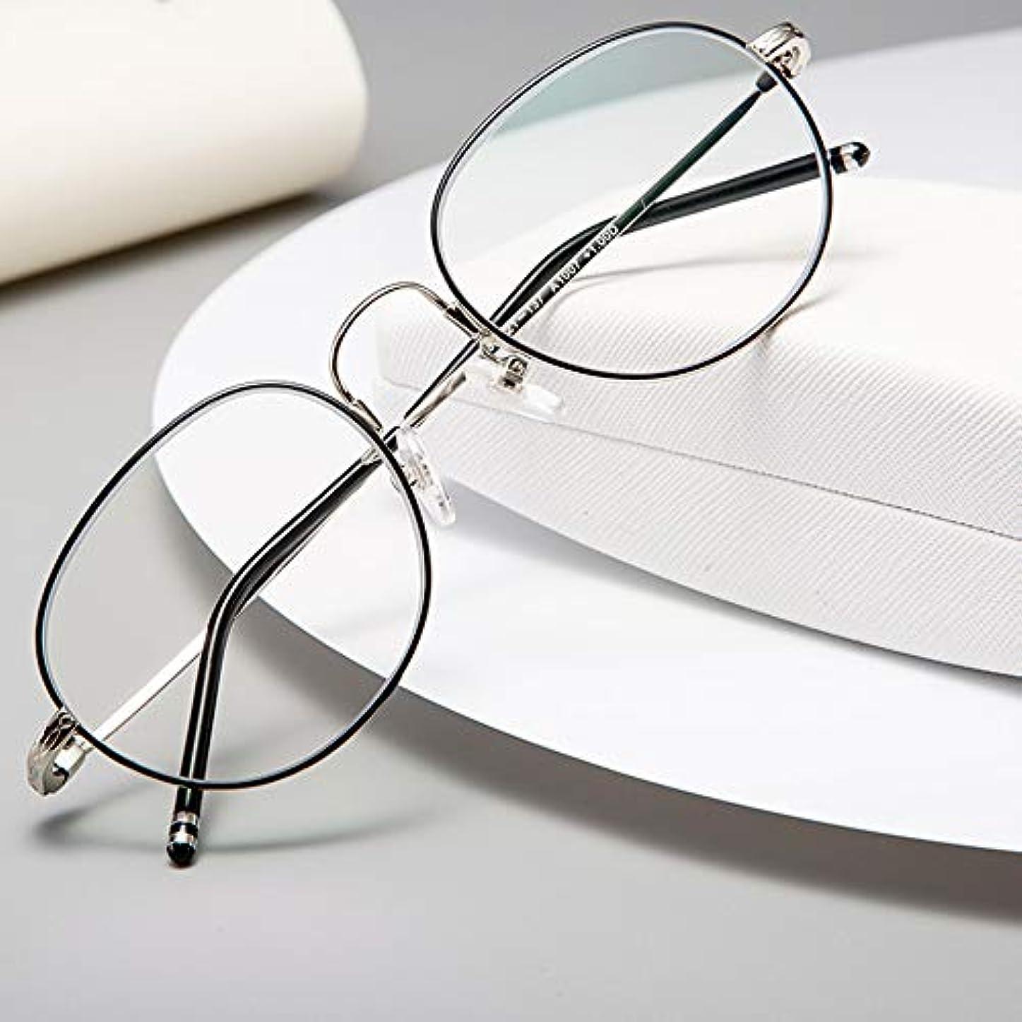 アンチBlu-Rayレディース老眼鏡、スタイリッシュな丸い細いフレームの金属製目の疲れを防ぐ読書用メガネ、スプリングヒンジ付き読者(遠近両用)
