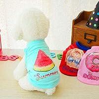 印刷されたカジュアルな犬のベスト夏の通気性の綿の文字パターンペットシャツ子犬猫の服小型犬用ペット製品:青、2XS