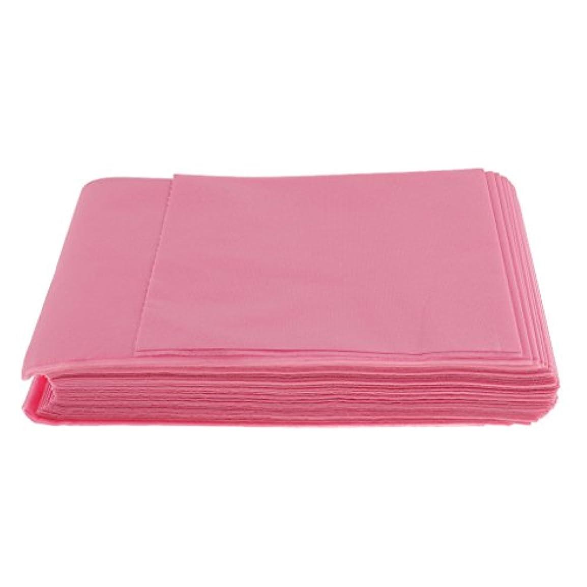 線形規則性ミトン10枚入り 使い捨て 美容室/マッサージ/サロン/ホテル ベッドパッド 無織PP 衛生シート 全3色選べ - ピンク