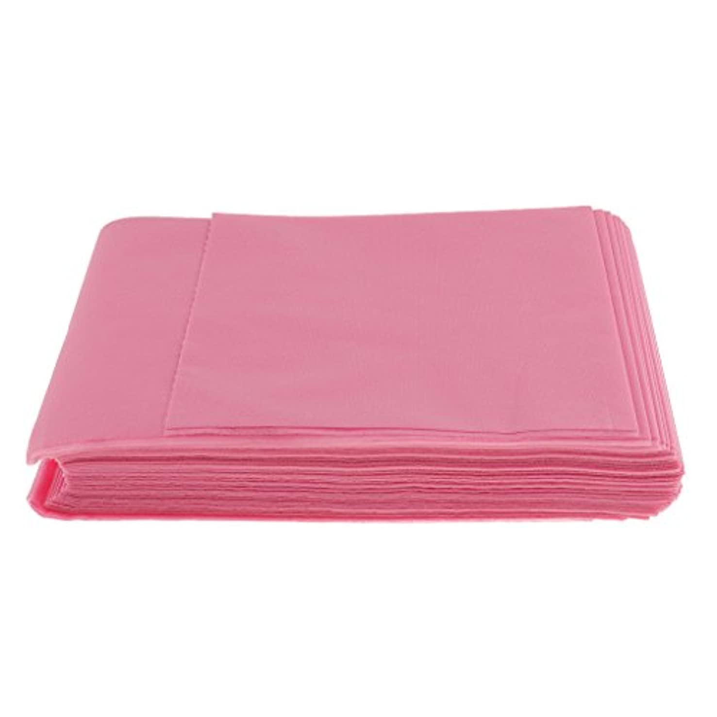 リストエイズ光沢10枚入り 使い捨て 美容室/マッサージ/サロン/ホテル ベッドパッド 無織PP 衛生シート 全3色選べ - ピンク