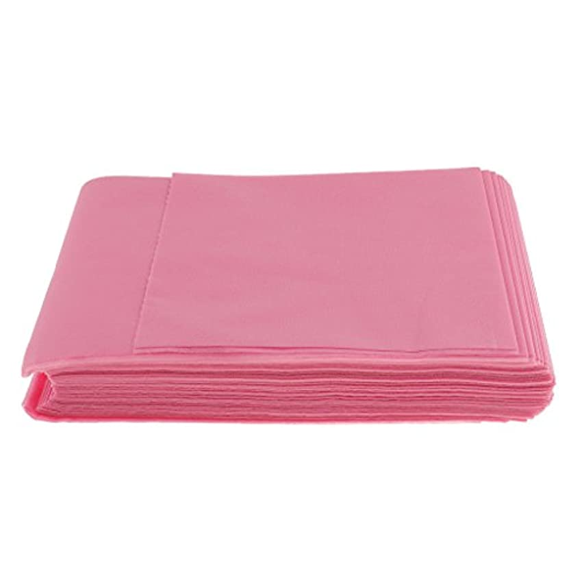 平行レバー荒廃するBaosity 10枚入り 使い捨て 美容室/マッサージ/サロン/ホテル ベッドパッド 無織PP 衛生シート 全3色選べ - ピンク