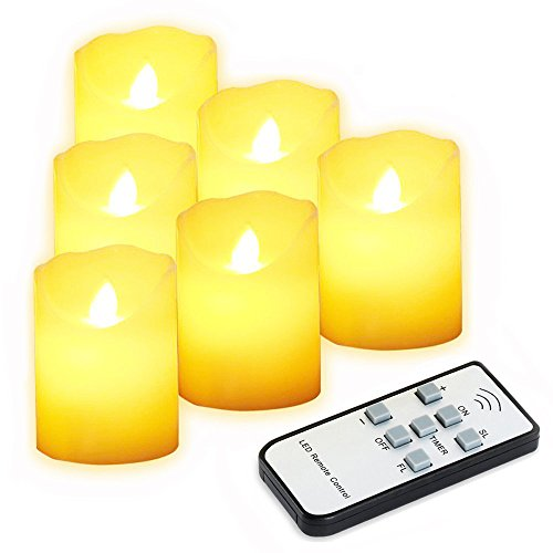 LEDキャンドル キャンドルライト ろうそく 癒しの灯り 揺らぐ炎 リアル感 おしゃれ クリスマス 結婚式 誕生日 室内・室外飾り インテリア・ライト 火を使わない 安全 省エネ 電池式 リモコン付き 明るさ調整 タイマー機能付き 6個セット