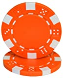 Brybelly 50 Orange Clay Composite Striped Dice 11.5 Gramme Poker Chips