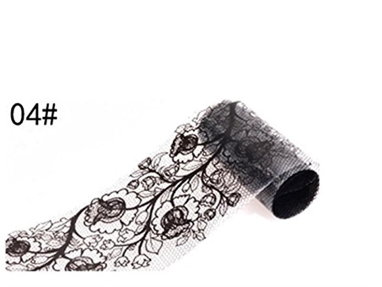 観察にぎやか割り込みOsize ブラックレースのデザインネイルアートステッカーデカールネイルチップのデコレーションブラックレースの花転写箔ネイルアートセクシーなデザインのステッカー(ブラック)