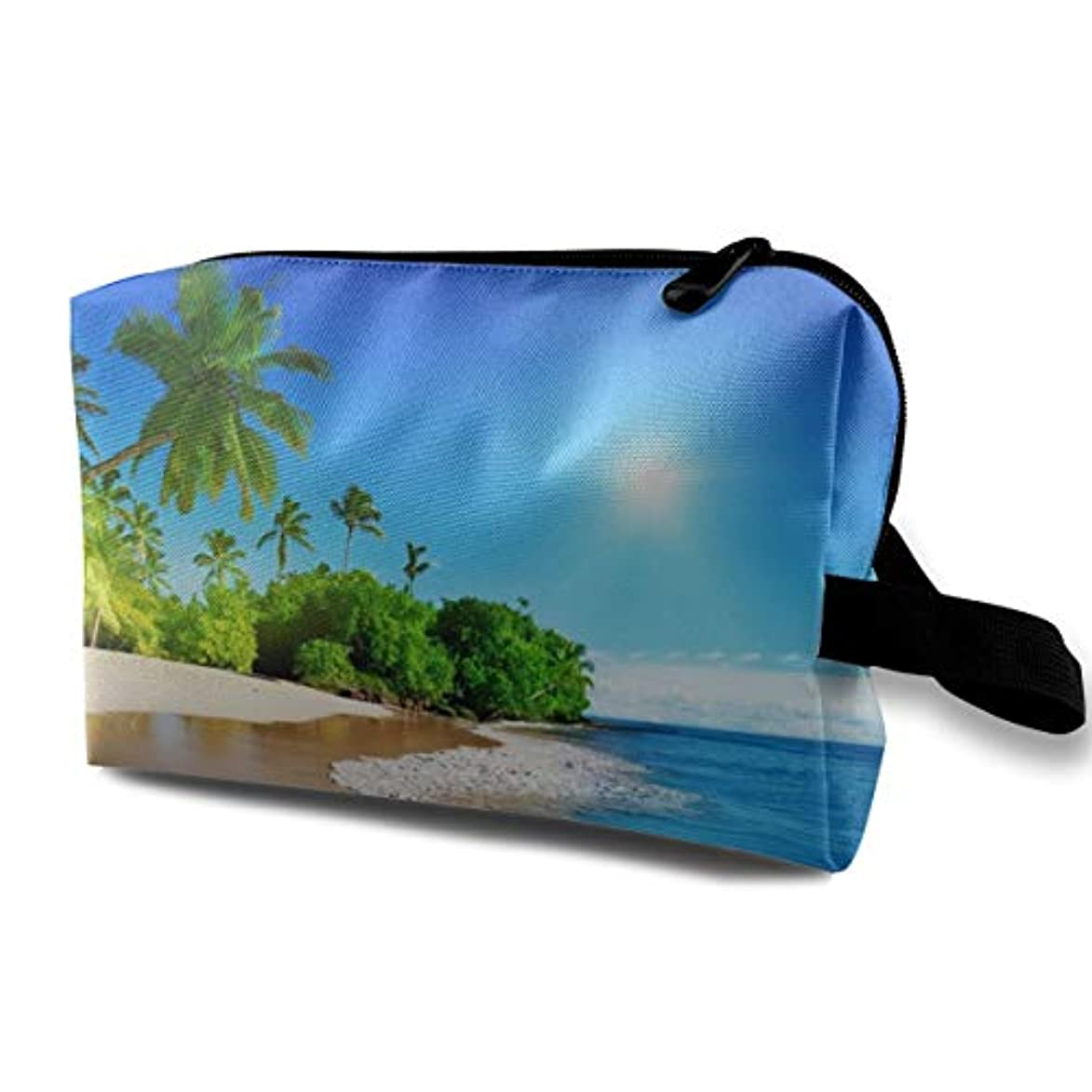 喜劇一般化するラジカルBeach Palms Trees Blue Ocean Landscape.jpeg 収納ポーチ 化粧ポーチ 大容量 軽量 耐久性 ハンドル付持ち運び便利。入れ 自宅?出張?旅行?アウトドア撮影などに対応。メンズ レディース トラベルグッズ