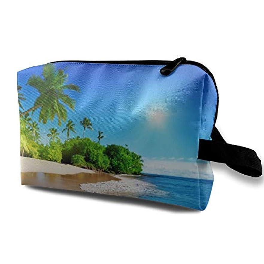 香水留め金バーBeach Palms Trees Blue Ocean Landscape.jpeg 収納ポーチ 化粧ポーチ 大容量 軽量 耐久性 ハンドル付持ち運び便利。入れ 自宅?出張?旅行?アウトドア撮影などに対応。メンズ レディース...