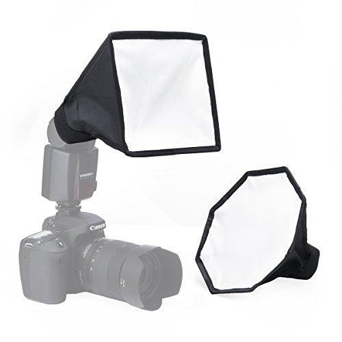 """ストロボ ソフトボックス スピードライト用 直射式 ポータブル 8""""/20cm オクタゴ ソフトボックス+8""""x6""""/20x15cm ソフトボックス セット、ディフューザー Canon Nikon対応"""