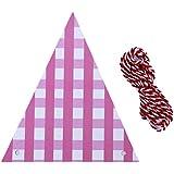 Onior プレミアム 人気 ウェディングストライプペーパートライアングルフラッグパーティーバースデーバナーデコレーション(ピンク) 便利