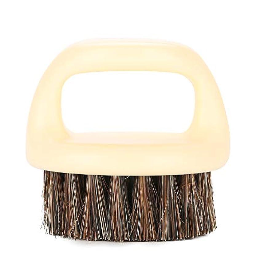 建設明るい錫ビアードブラシメンズヘアブラシ3つのスタイルビアードグルーミングのためのブラシブラシ男性のためのひげ剃りビードシェイプツール (ホワイトハンドル&ブラックヘア)