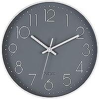 HZDHCLH 掛け時計 電波時計 おしゃれ 北欧 連続秒針 静音 壁掛け時計 自動受信 リッピング 掛時計 インテリア 大数字 見やすい 30cm (電波・グレー)