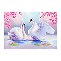 Perfeclan 5D DIY ダイヤモンドペインティング 絵画キット ホーム 新築祝い 装飾 幻想的 40×30cm 全6種 - 白鳥