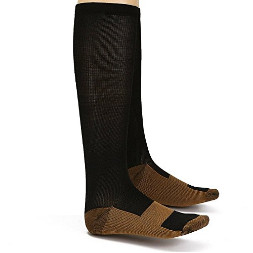Copper Compression Socks Knee High - for Men & Women - Boosts Circulation, Provides Support, Helps Soothes Tired Leg & Feet (Black, Small/Medium)