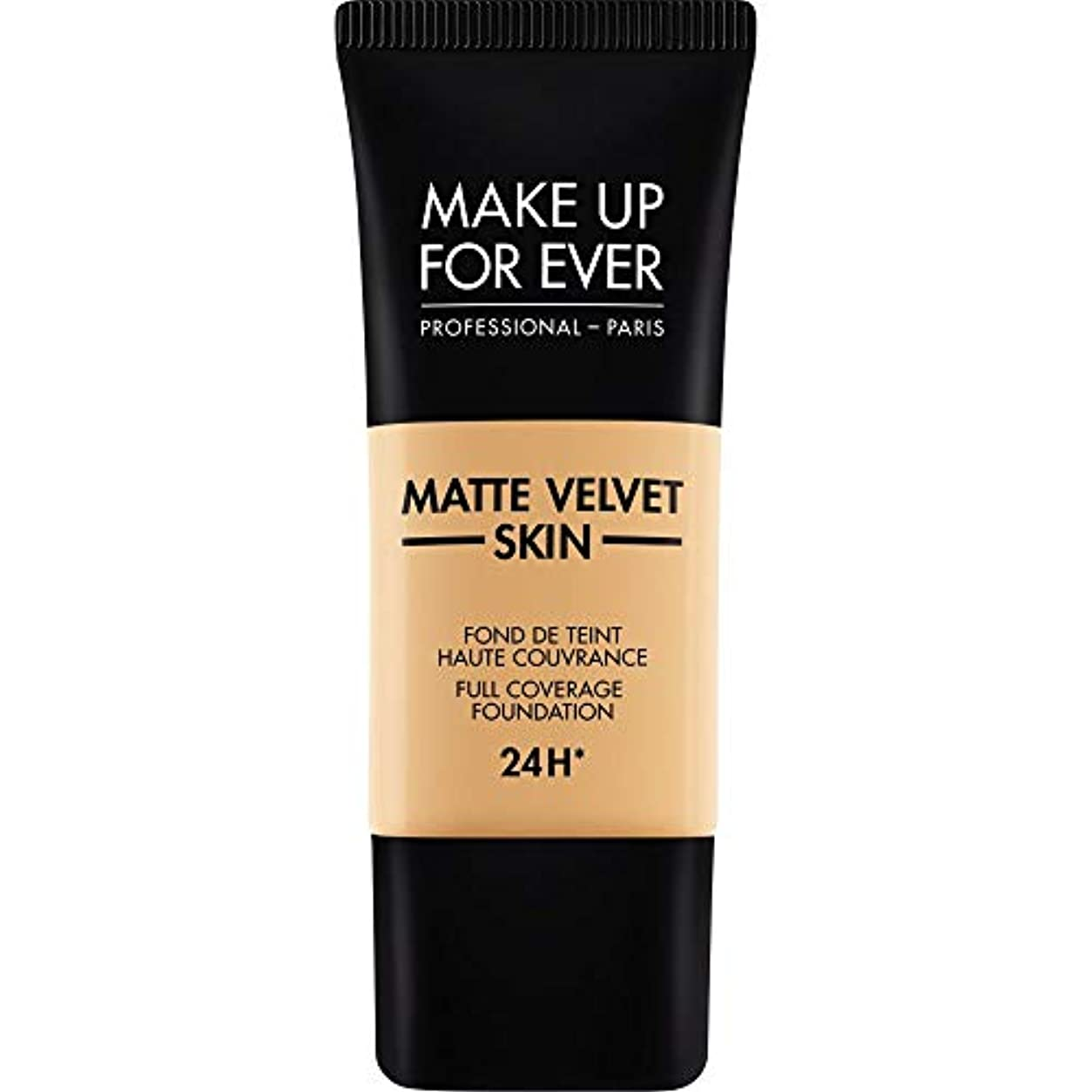 六月ローブ適度に[MAKE UP FOR EVER ] ナチュラルベージュ - これまでマットベルベットの皮膚のフルカバレッジ基礎30ミリリットルのY345を補います - MAKE UP FOR EVER Matte Velvet Skin Full Coverage Foundation 30ml Y345 - Natural Beige [並行輸入品]