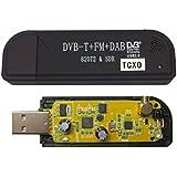 受信周波数高安定、高精度/TCXO(温度補償型水晶発信器±0.5PPM)搭載TV28Tv2DVB-Tチューナー単品ブラック[RTL2832U+R820T2][DVB-T+DAB+FM][広帯域受信用【RTL-SDR専用】【USBコネクター換装品】