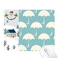白傘天気パターン サンタクロース家屋ゴムのマウスパッド