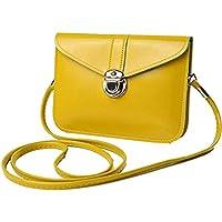 edfamily Women Girls Mini Handbags Leather Crossbody Single Shoulder Bag Cellphone Pouch Purse Wallet(Yellow)