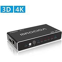 MROCIOA Hdmi 切替器,5入力/1出力 4K + 3D 高速 Hdmi セレクタ 分配器 サポート PS3 / PS4 / XBOX/XBOX ONE S/XBOX 360 / FIRE TV/APPLE TV/SKY BOX/BLUE RAY などをサポートします。