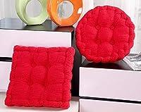 Cetengkeji 椅子のクッション美しいお尻を増やす学生のオフィスのクッション厚手の丸いコーデュロイの畳のクッションオフィスの椅子のクッション厚手の通気性のある椅子のクッション (Color : Red, Style : Round)