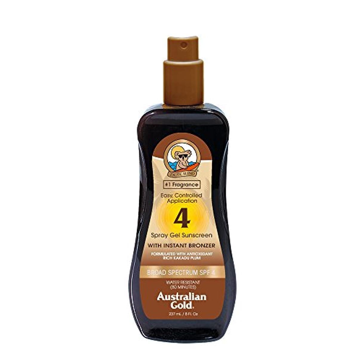 フレッシュ航空ミンチAustralian Gold Spray Gel Sunscreen Broad Spectrum SPF 4 with Instant Bronzer 237ml/8oz並行輸入品