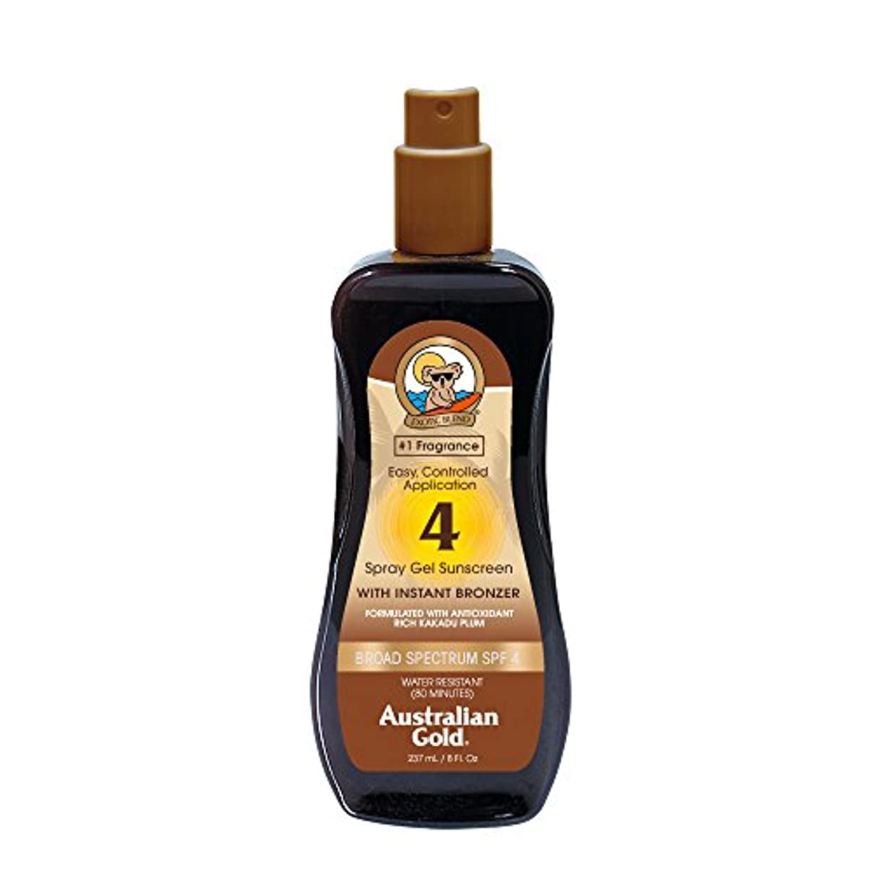 Australian Gold Spray Gel Sunscreen Broad Spectrum SPF 4 with Instant Bronzer 237ml/8oz並行輸入品