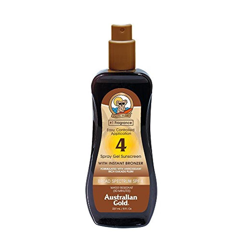 スクランブルオーケストラ狂うAustralian Gold Spray Gel Sunscreen Broad Spectrum SPF 4 with Instant Bronzer 237ml/8oz並行輸入品