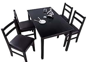 (OSJ)ダイニングテーブル&チェア 天然木 ダイニングセット (5点セット, ダークブラウン)