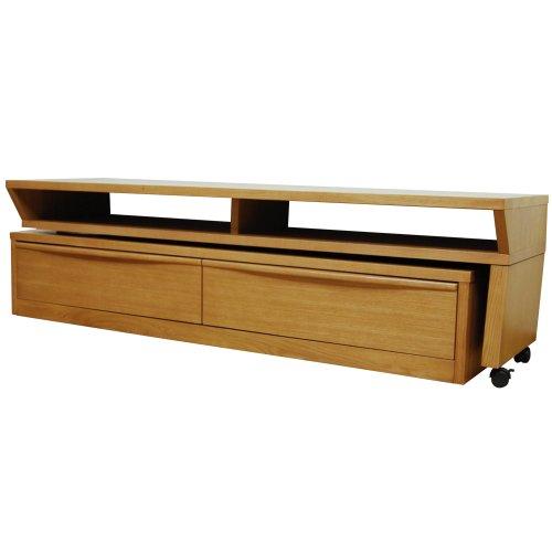 天然木 可動式 タモ テレビボード デスク ライトブラウン 幅152~262cm LS-322LB