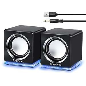 【ARVICKA】pcスピーカー USBスピーカー/ステレオミニプラグ音源 テレビ/PC/タブレット/スマホ対応 [並行輸入品]