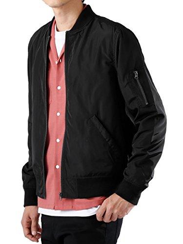 (モノマート) MONO-MART MA-1 ジャケット エムエーワン フルジップ ノーカラー ミリタリー 長袖 MODE メンズ ブラック Lサイズ