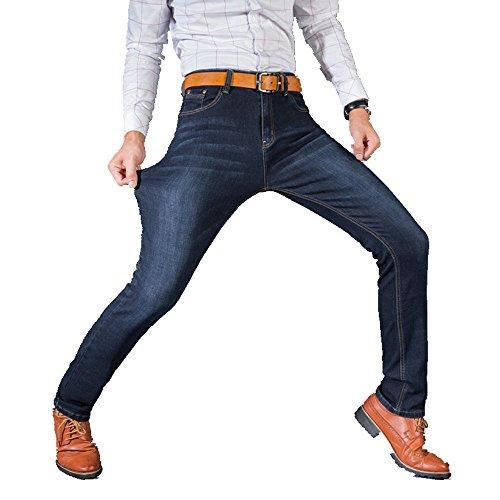 メンズジーンハイストレッチファッションブラックブルーデニムブランドメンズスリムフィットジーンズサイズ30 32 34 35 36 38 40 (dark blue, 36)