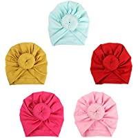 ISHOWDEAL 5PCS Baby Hat with Bow Baby Caps Cotton Hat Turban Headband for Newborn Toddler and Children Suitable for Baby 12-24 Months,Pink,Rose Red,red,Yellow,Mint Green, 7.7x0.79 in