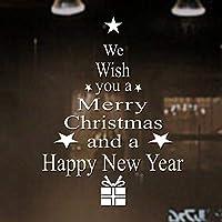 SUNBIBEフェスティバル クリスマス ガラス 壁装飾 取り外し可能 壁ステッカー We Wish You a Merry Christmas and Happy New Year 文字プリント クリスマスツリーウォールデカール ホームクリスマスデコレーション 60cm25cm 60cmx25cm マルチカラー Sunbibe-01