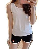 CLAUDIAR 女性のパジャマベストショーツスポーツパジャマ快適なクールな綿は女性のホームサービストップとボトムスーツソフトと光の家の外で着用することができます (色 : 黒, サイズ : M)