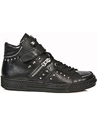 New Rock Shoes - Men's Black Urban Studded Shoes