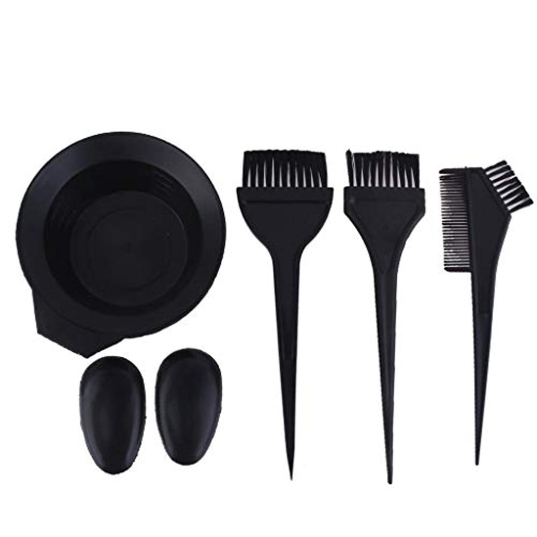 使い込むシャンプーせっかちサロンの髪染めのためのプラスチック黒髪ボウル櫛ブラシキット